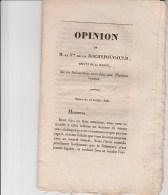 OPINION DE MR DE LA ROCHEFOUCAULD -DEPUTE DE LA MARNE SUR LES SUBVENTIONS ACCORDEES AUX THEATRE ROYAUX -1828 - Decrees & Laws