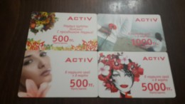 Kazakhstan-activ Prepiad Card-(500,500,1000,5000)-mint-(4cards)+2card Prepiad Free