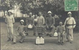 ASIE - CAMBODGE - PNOM PENH - 1908 -  Groupe De Soldats Français - Carte Photo -  Gros Plan