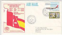 Malta: First Scheduled Flight, Malta-Spain-Malta, FDC, 22 June 1990 - Malta