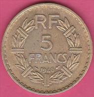 5 FRANCS  LAVRILLIER  1946  .Cupro  Aluminium . - France