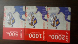 Kazakhstan-activ Prepiad Card-(500,1000,2000)-(3cards)-mint+2card Prepiad Free