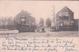Soignies Le Passage à Niveau Et La Route De Mons (timbre à Date Ambulant Jemelle Bruxelles) - Soignies