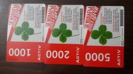 Kazakhstan-activ Prepiad Card-(1000,2000,5000)-(3cards)-used+2card Prepiad Free
