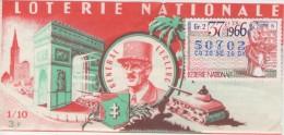 Billet De Loterie Nationale, Général LECLERC, 1966, (timbre 1966 , 37ème Tranche) - Billetes De Lotería
