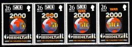 Gibraltar MNH Scott #473 Strip Of 4 26p Globe, Stop Polio Legend - Save The Children Fund - Gibraltar