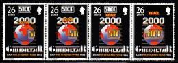 Gibraltar MH Scott #473 Strip Of 4 26p Globe, Stop Polio Legend - Save The Children Fund - Gibraltar