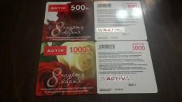 Kazakhstan-activ Prepiad Card-(500,1000)-(2cards)mint Card+1card Prepiad Free