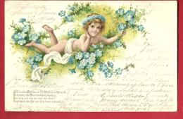 PBQ-22  Enfant Couché Dans Un Lit De Trèfles à Quatre. Précurseur. Relief. Cachet 1901 - Scènes & Paysages