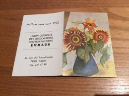 """Calendrier 1976 """"Tournesols, Peint Avec La Bouche C. WILCH (fleur) / EMMAUS PARIS"""" (10,5x14cm) - Calendars"""