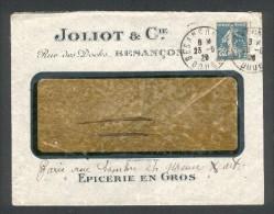 """N° 140 Perf """"JC"""" Obl Daguin Jumelé De Besançon (1920) Sur Lettre à En-tête JOLIOT & Cie Epicerie En Gros - France"""