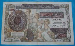 SERBIA - GERMANY 1000 DINARA 1941 PICK-24, VF+. SERIAL# N 0003 - 623. NO TEARS NO PINHOLS. - Serbie