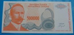 BOSNIA & HERZEGOVINA *REPUBLIKA SRPSKA* 5,000,000 DINARA 1993. PICK-153, UNC. (2) - Bosnie-Herzegovine