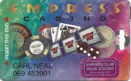 Empress Casino Hammond IN Slot Card - Purple Sticker Jan 2000 - Casino Cards
