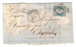 N° 14A SUR LETTRE BANQUE DE COMMISSION JOSEPH FABRE PERPIGNAN 4/11/1858 POUR CHALABRE AUDE - ZOOM 4 Scans - Postmark Collection (Covers)