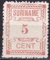 SURINAME 1912 Hulpuitgifte 5 Cent Rood NVPH 67 (*) - Suriname ... - 1975