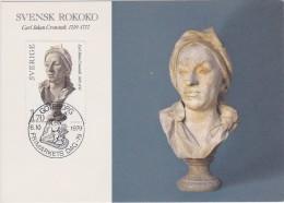 ART SCULPTURE SKULPTUR ROKOKO BOUCHARDON Gypsum Bust SWEDEN SUEDE SCHWEDEN  1979 MI 1081 RARE MAXI CARD - Slania - Sculpture