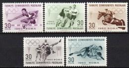 Turquie - 1960 - Yvert N° 1562 à 1566 **  - Jeux Olympiques De Rome - Unused Stamps