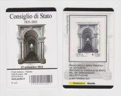 2011 - ITALIA -  TESSERA FILATELICA  CONSIGLIO DI STATO NEL 180° ANNIVERSARIO DELL' ISTITUZIONE - 6. 1946-.. Republik