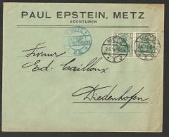 Lettre Commerciale D´Allemagne (Germany) 1916 C A De Metz à Diedenhofen (Thionville) - Brieven En Documenten