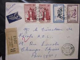Lettre Recommandée Du Maroc Pour La France 1958 - Morocco (1956-...)