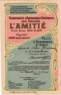 Compagnie D´assurances Des AMOURS  L´ AMITIE 1905 Style Art Nouveau  Imprimé Chez Préaux à Ghlin - Noces