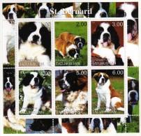 """Tadjikistan 2000 Joli Bloc  N** Chien Dog """"le Saint Bernard"""" - Cani"""