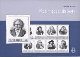 Beroemde Componisten 8 Zegels In Map - Autriche