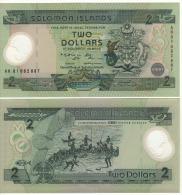 "SOLOMON-ISLANDS  2 Dollars   ""Commemoartive-POLIMER""   P23    ND  (2001)    UNC - Solomon Islands"