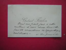 ANCIENNE CARTE DE VISITE   GABRIEL FOULON  25 RUE JEANNE D'ARC - Cartes De Visite