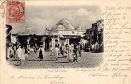 [DC9447] CARTOLINA - TUNISIA - PLACE BAB SUIKA - Viaggiata 1902 - Old Postcard - Tunisia