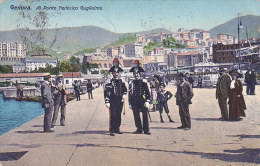 Italia 1913 Cartolina Usata Genova Al Ponte Federico Guglielmo, Spedita In Australia - Postcards