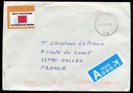"""BELGIQUE - Enveloppe Pour La France Avec Vignette """"Envoi Philatélique - Filatelische Zending"""" - Vignettes D'affranchissement"""