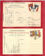 CARTE 4 DRAPEAUX A DROITE 20 CORPS D´ARMEE Vers MOISSAC  1916 +UNE NEUVE MODELE A    2 SCANS - Marcophilie (Lettres)
