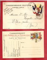 CARTE 4 DRAPEAUX  + MARIANE A DROITE  SP 123 Vers L'ISLE EN JOURDAIN  1915 +UNE NEUVE MODELE A    2 SCANS - Marcofilia (sobres)