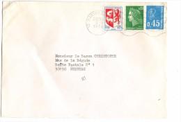 LETTRE 3TP 0.80F (Armoirie+Cheffer+Bequet) OBL. MECANIQUE 2-9-1976 MARSEILLE GARE (13) + INDEXATION TRI MARQUE H1 - Marcophilie (Lettres)