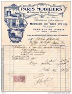 Facture PARIS Mobiliers 1921 - France