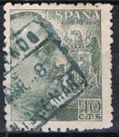 Sello 40 Cts Caudillo, Fechador Azul Certificado ARENYS De MAR (barcelona), Num  925 º - 1931-Today: 2nd Rep - ... Juan Carlos I