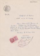 Cauderan Gironde Certificat Résidence Vue Mariage Papier Timbré Filigrane Etat Français 1941 Timbre Fiscal - Documentos Históricos