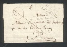 Haute Saône - Marque De Port Payé P69P LUXEUIL En Noir Sur Lettre Pour Le Piémont - 34 X 11,5 Mm - 9 Sept 1823 - Timbres