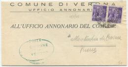 1945 RSI MONUMENTI C. 50 COPPIA PIEGO TARIFFA RIDOTTA 12.6.45 USO LUOGOTENENZA TIMBRO ARRIVO MONTECCHIA DI CROSARA (6693 - 5. 1944-46 Luogotenenza & Umberto II