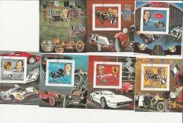 CENTRAFRICAINE - LOT DE 7 BLOCS OBLITERES -THEME AUTOMOBILE  ANNEE 1983