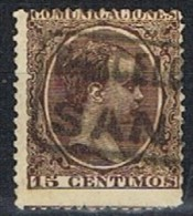 Sello 15 Cts Alfonso XIII Pelon, Carteria Tipo I SANS (Barcelona) Num 219 A º - 1889-1931 Reino: Alfonso XIII