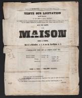 Document Du 28/05/1853 Vente Sur Licitation D´une Maison Sise 1 Rue De La Michodière Paris - 1800 – 1899