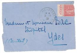 """Lettre 1929 Semeuse BANDE PUB """" PASTILLE MADON """" Cad Ussel Meymac ? Timbre N°199 Issu De Carnet Obl. Jour De L'an - Advertising"""