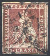1851-52  1 CRAZIA CARMINIO CUPO SU GRIGIO N.4e GRANDI MARGINI, LEGGI DESCRIZIONE - USED LARGE MARGINS, READ DESCRIPTION - Toscana