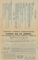 Compagnie Générale Transatlantique, Lignes De La Corse : Tarifs Applicables Aux Voyages à Partir Du 6 Janvier 1969... - Boats