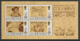 Guernsey 1992 B 8 = Mi 549 /2 ** 500th Ann. Discovery America By Columbus / Entdeckung Von Amerika - Christoffel Columbus