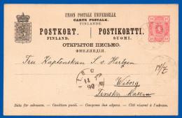 FINLAND 1888 PREPAID CARD 10 PENNI H & G 23 USED 1890 DAVIDSSTAD TO VIBORG VERY GOOD CONDITION - Ganzsachen