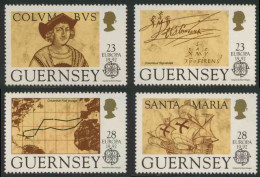 Guernsey 1992 Mi 549 /2 YT 560 /3 ** 500th Ann. Discovery America By Columbus / Entdeckung Von Amerika - Christoffel Columbus